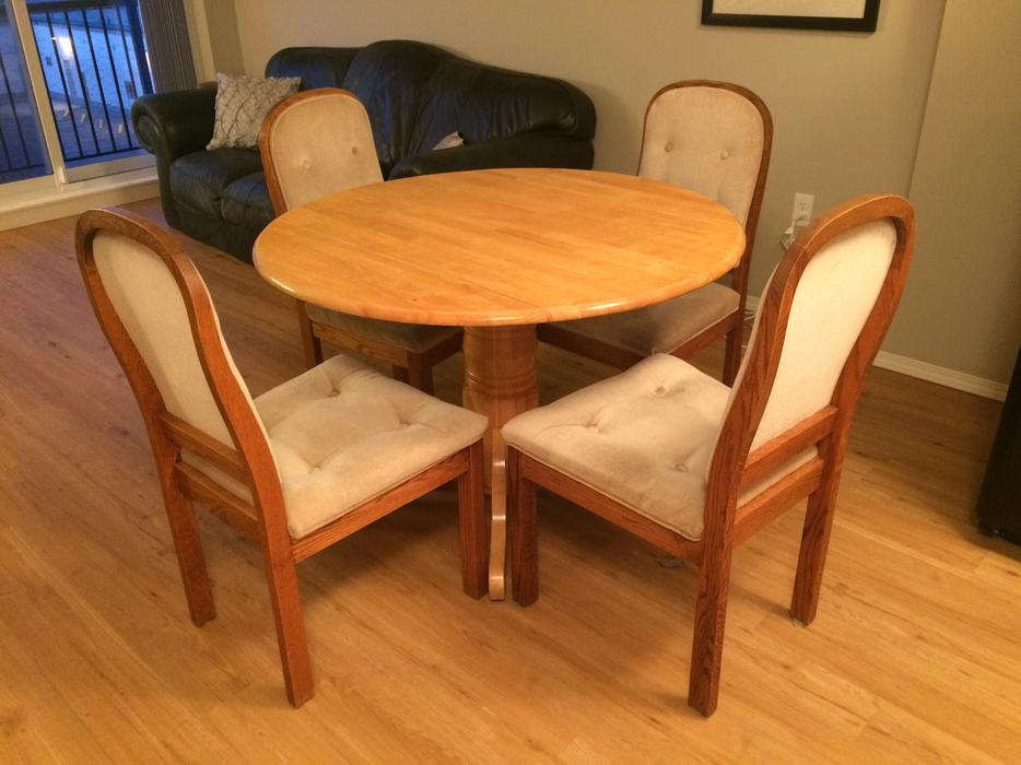 Dining set with fabric chairs east regina