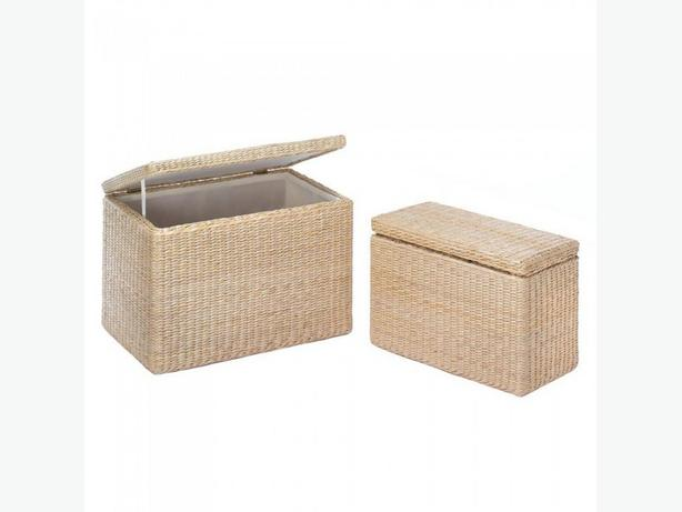2PC Rush Grass Nesting Storage Chest Trunk Set 2 Designs Dark or Light Choice