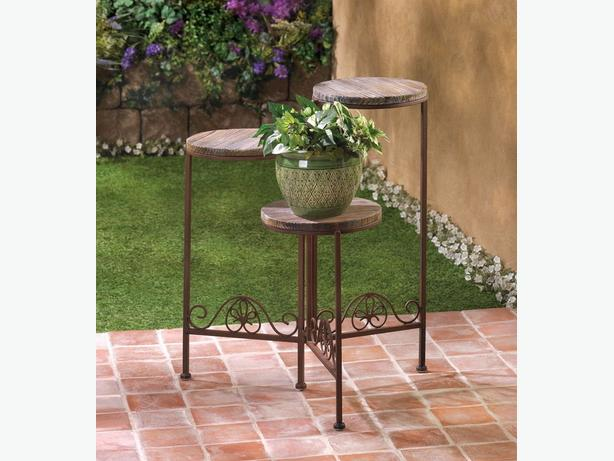 3-Tier Rustic Weathered Wood Plant Stand & Flower Pot Planter Set 4PC Mixed Lot