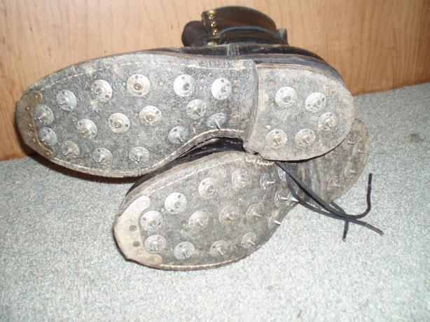 leather caulked boots