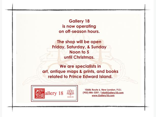 Gallery 18 Off-Season Hours!