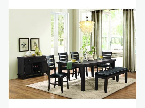 7 Piece Hardwood Dining Set in Dark Grey/Brown Finish