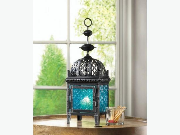 Exotic Moroccan Blue Candle Lantern Set of 4 + Candles Brand New