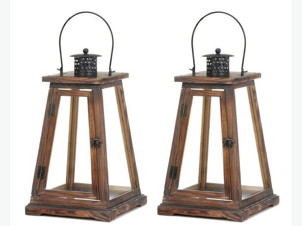 "Lg 17"" Candle Lantern Rustic Wood Frame & Clear Glass Panels Set of 2 New"