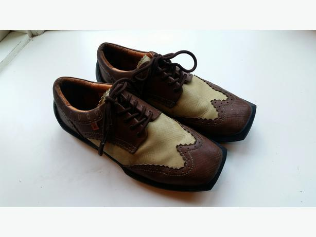 Fluevog Future Angles Charles leather wingtip - brown and tan