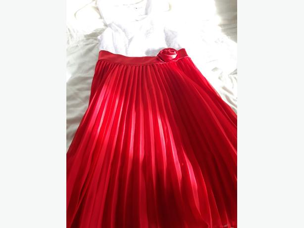 Red and White pleated Christmas dress