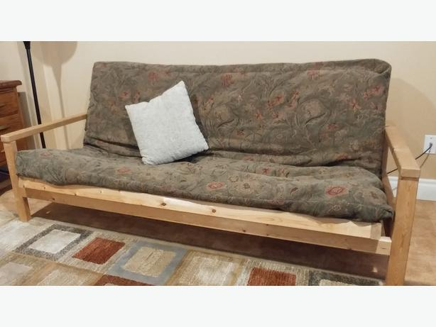 Wooden Futon Frame and Mattress