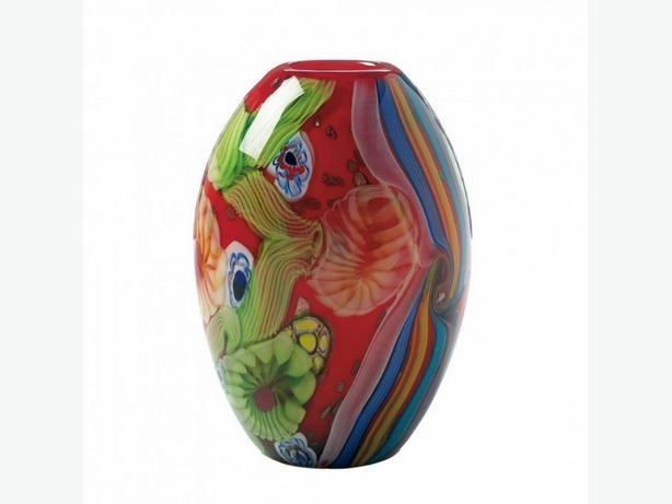 Red Art Glass Flower Vase Brand New
