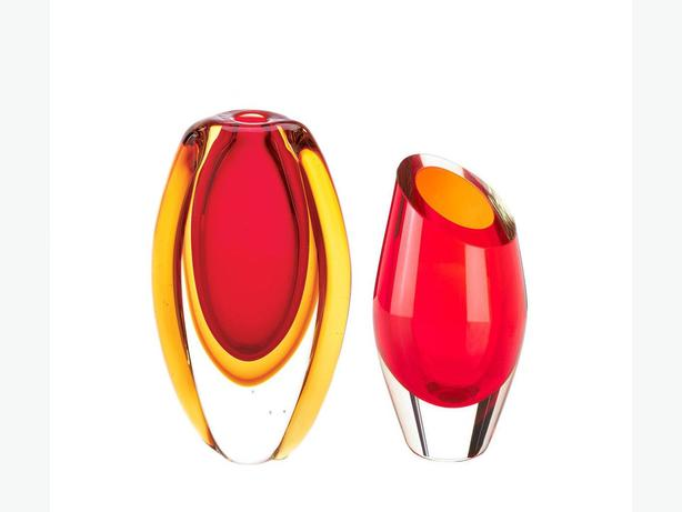 Vibrant Red Cut Glass Modern Abstract Vase 2 Styles Mixed Brand New