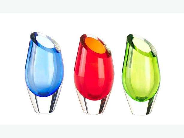 Cut Glass Modern Abstract Vase Blue Red Green Mix&Match Any 2 New