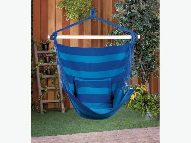 Blue Stripe Hammock Swing Chair Set of 2 Brand New