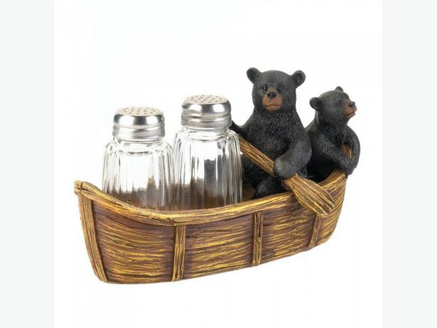 Black Bear Figurine S&P Papertowel Holder Towel Ring Wall Hook 5PC Mix