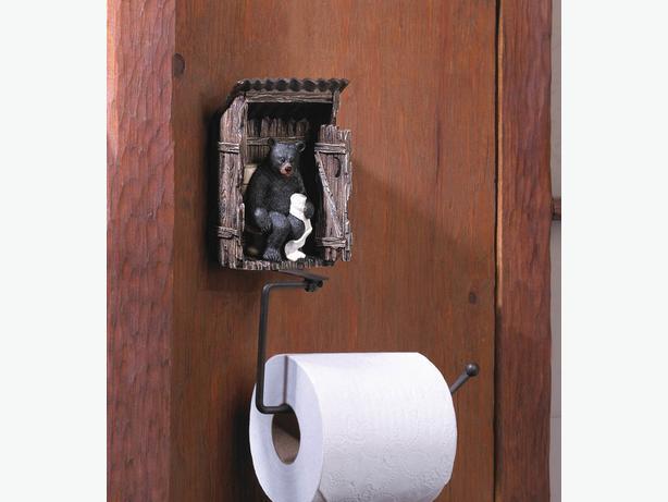 Black Bear Figurine Toilet Paper Holder Towel Ring Toilet Brush 3PC Mix