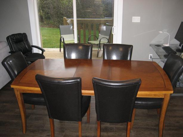 "77 "" of Solid Wood Dinning Set with 6 Leather Chairs"