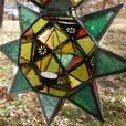 Large Multi-Color Hanging Star Candleholder Lantern Set of 2 New