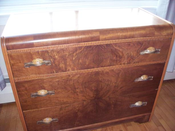 Art Deco Waterfall wooden bedroom dresser