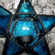 Tabletop Blue Star Candleholder Lantern with Stand 3 Lot + Candles New