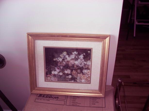 gold framed rose print