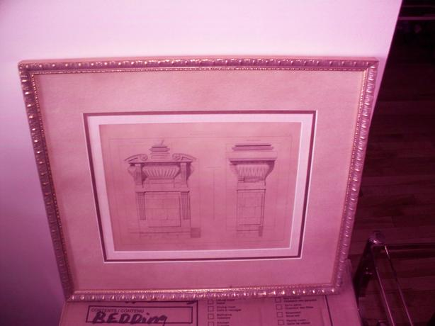gold coloured frame Bombay Company with architectural print