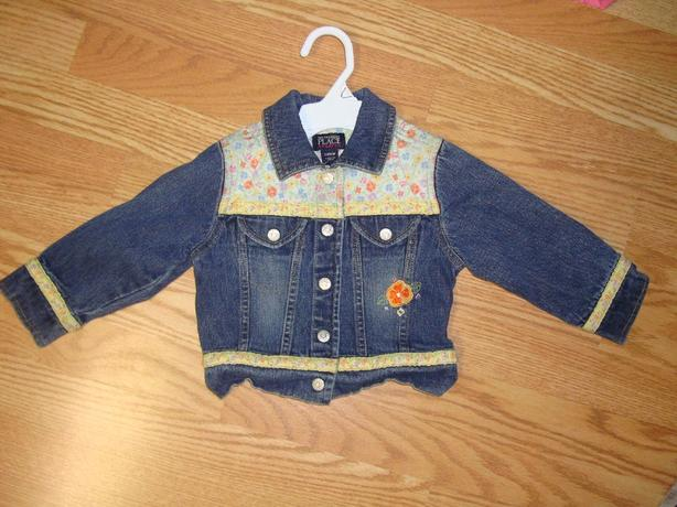 Like New Children's Place flower stretch jean jacket size 24 months - $6