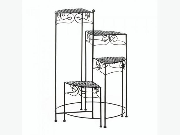 4-Tier Metal Spiral Staircase Plant Stand Choose White or Black New