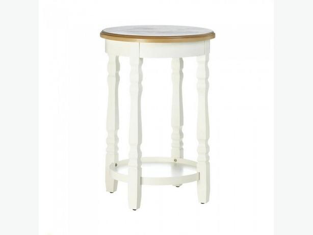 White Round Accent Side End Table Wood Top Display Shelf & Spindle-Like Legs New