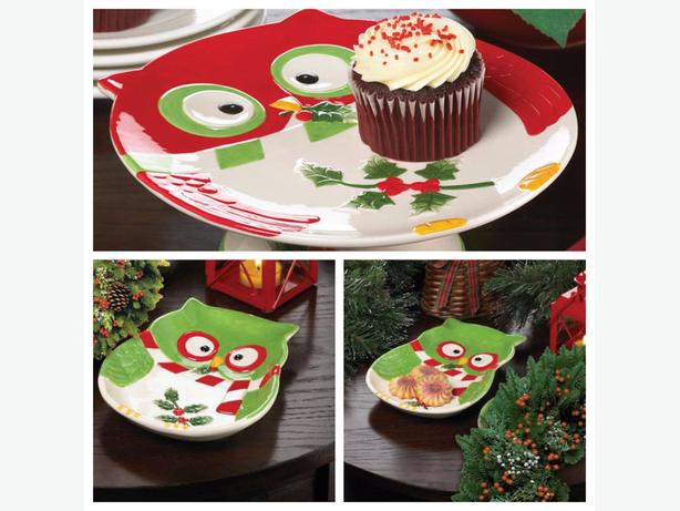 Christmas Owls Serving Plate L&S Dessert Stand 9PC Mixed Lot Brand New