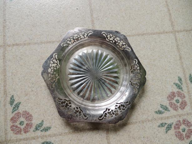 VINTAGE SILVER TRAY WITH GLASS