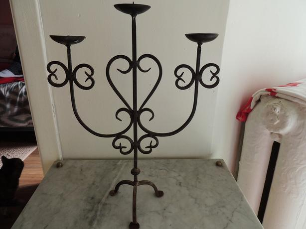 IRON CANDLE STICK HOLDER 14 inches tall