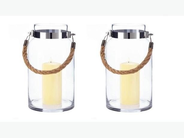 Large Clear Glass Hurricane Candleholder Jar Rope Handle Set of 2 New