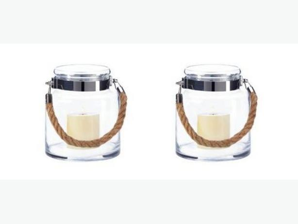 Small Clear Glass Hurricane Candleholder Jar Rope Handle Set of 2 New