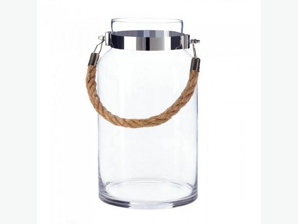 Clear Glass Hurricane Candleholder Jar Rope Handle Lg&Sm 2PC Mix
