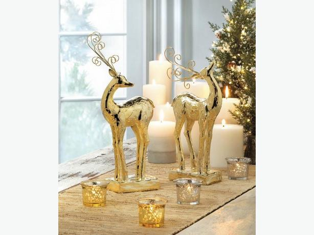 Golden Reindeer Statue Ornament 2 Styles + Candleholder 4PC Mixed