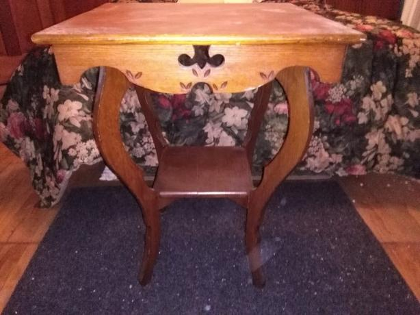 Sturdy Antique Carved 2-Tier Solid Wood Table - Gorgeous