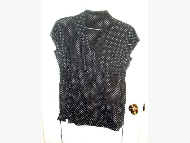 Like New Maternity Top Blouse Black White Polka Dot Size S-M $15