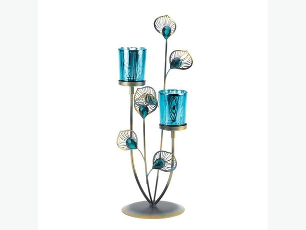 Peacock-Inspired Blue Candleholder Centerpiece Wall Sconce 2PC Choice +