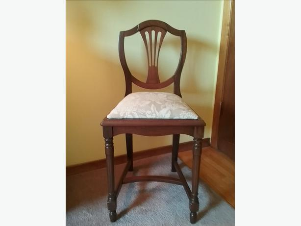 Antique Carved Dark Wood Frame and Tapestry Victorian Style Slipper Vanity Chair