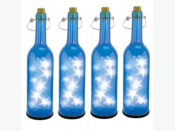 Indoor Outdoor LED Blue Bottle Nightlight Lamp On/Off Switch Stars & Handle 4Lot