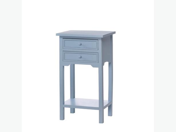 Blue Accent Side End Table Nightstand with 2 Drawers & Shelf Brand New
