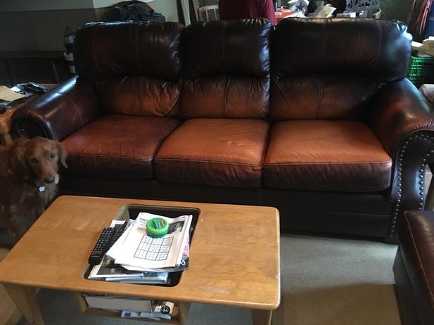 Leather Sofa, Arm Chair and Ottoman