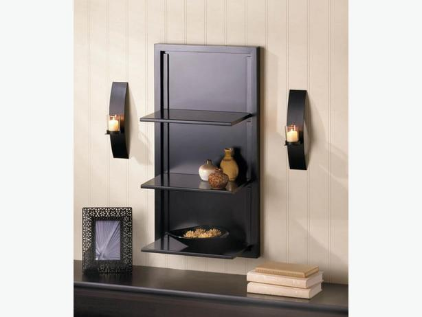 Modernistic Black Folding Wall Shelf & Candleholder Sconce Pair 3PC Mixed New
