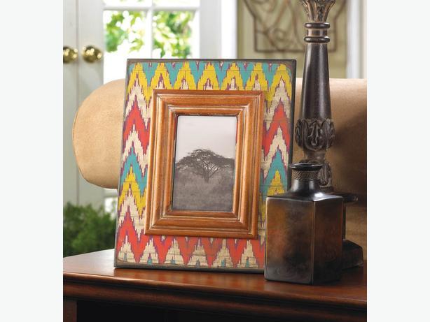 4X6 Wood Photo Picture Frame Ikat Chevron Pattern 3 Lot Brand New