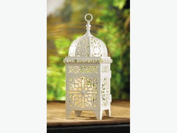 White Scrollwork Candleholder Lantern Wedding Centerpiece 6 Lot