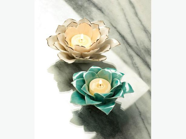 Sculpted Flower Stoneware Candleholder Turquoise Blue White 4 Lot Mixed