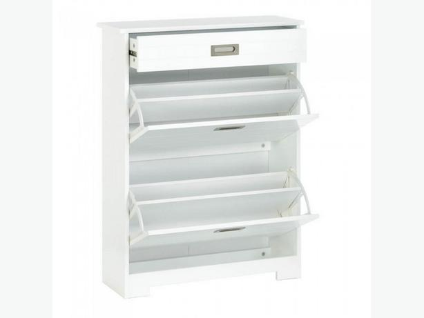 2-Tier White Wood Shoe Rack Cabinet with Drawer Brand New