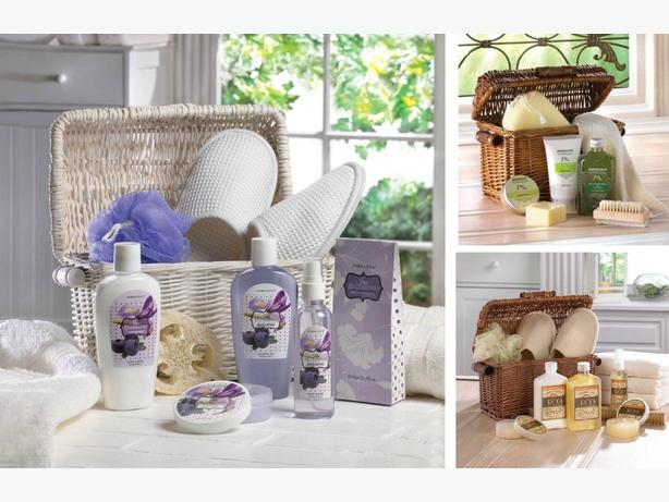 Bath & Body Gift Set in Reusable Basket 5 Different Scents Mix & Match Any 4