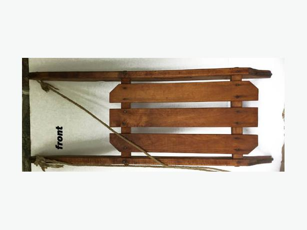 Vintage Child Wood Sled with metal Runners