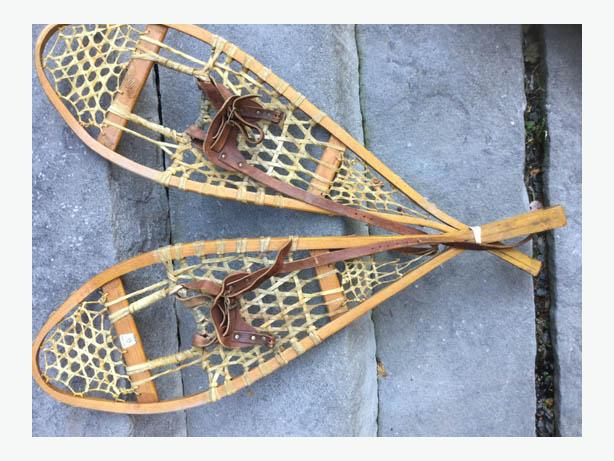 Vintage Wood Gros Louis Snowshoes Wood And Leather ------FIRM----