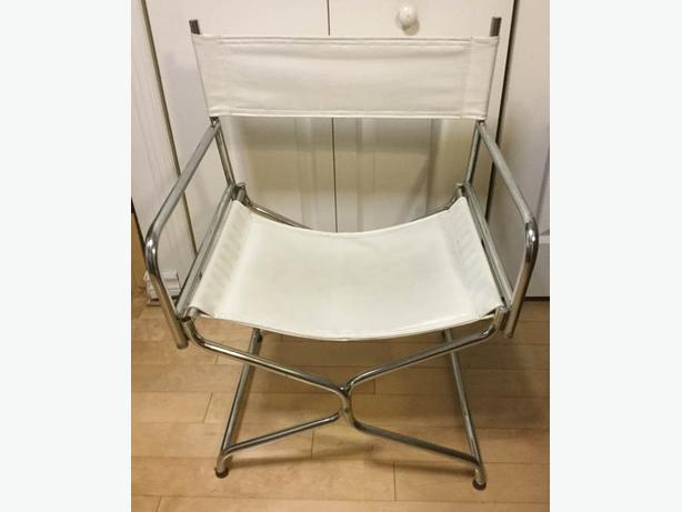 Lovely Chrome and White Leatherette Folding Chair