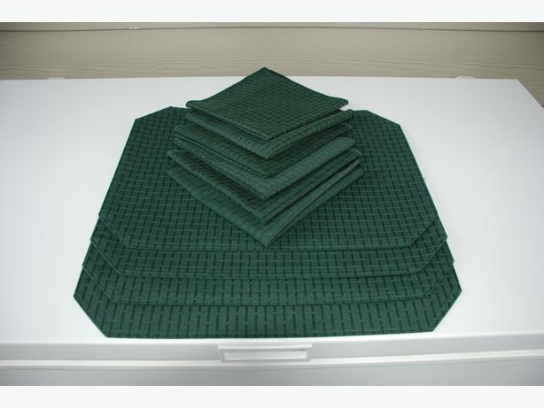 """""""Christmasy"""" Tablecloths, Placemats, Napkins (dark green and white)"""